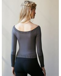 Free People - Gray Classic Off The Shoulder Seamless Top - Lyst