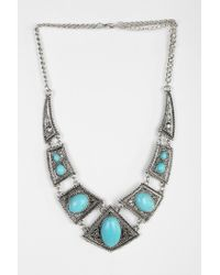 Urban Outfitters - Blue Turquoise Engraved Necklace - Lyst