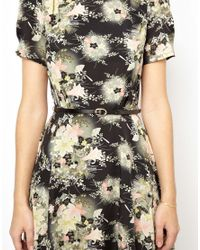 Oasis - Multicolor Floral Belted Skater Dress - Lyst