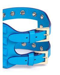 Valentino - Blue Rockstud Cutout Leather Bracelet - Lyst
