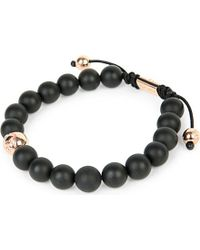 Nialaya | Black 14ct Rose Gold And Onyx Beaded Bracelet, Men's, Size: L, Blk/rgold | Lyst