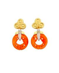 David Webb | Multicolor Coral Earrings - Carved Coral, Brilliant-cut diamonds, Hammered 18k Gold, And Platinum | Lyst
