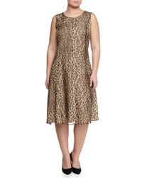 Marina Rinaldi | Multicolor Animal-print Dress W/ Attachable Sleeves | Lyst