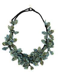 Night Market | Green Beaded Flower Necklace | Lyst