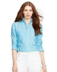 Lauren by Ralph Lauren | Blue Linen Tunic | Lyst