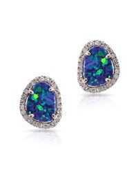 Anne Sisteron | Blue 14kt Rose Gold Small Organic Opal Diamond Stud Earrings | Lyst
