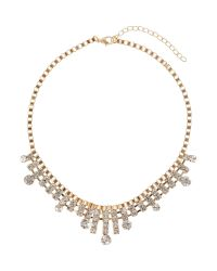 Mikey | Metallic Box Chain Spike Crystal Drops Necklace | Lyst