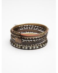 Free People - Brown Coin Drop Bangle Set - Lyst