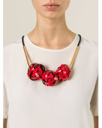 Marni   Red Woven Ball Necklace   Lyst