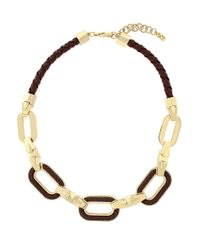 Cole Haan | Black Signature Leather Chain Link Necklace | Lyst