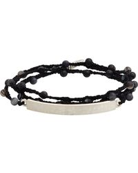 Feathered Soul | Black Agate Bead & Silk Bracelet With Hammered Silver Id Plat for Men | Lyst