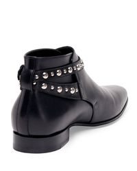 Saint Laurent - Black Studded-Strap Leather Ankle Boot for Men - Lyst