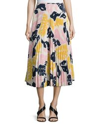 Cedric Charlier - Multicolor Floral-print Pleated Crepe Midi Skirt - Lyst