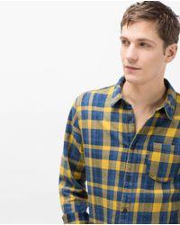 Zara | Yellow Check Shirt for Men | Lyst