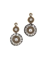 Deepa Gurnani - Metallic Sunburst Earrings Goldgunmetal - Lyst
