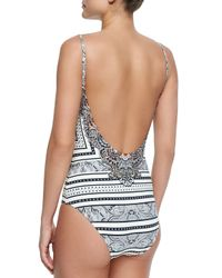 Camilla - Gray One-piece Swimsuit Embellished With Crystals - Lyst