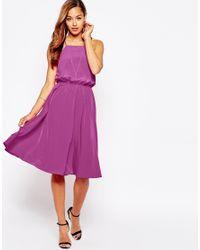ASOS | Open Cross Back Midi Dress - Pink | Lyst