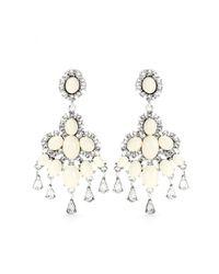 Oscar de la Renta - White Chandelier Clip-On Earrings - Lyst