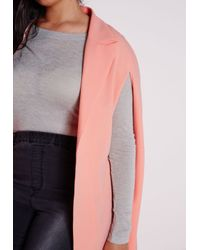 Missguided - Pink Plus Size Cape Blazer Crepe Blush - Lyst