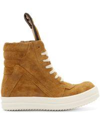Rick Owens - Brown Tan Suede Geobasket Sneakers - Lyst