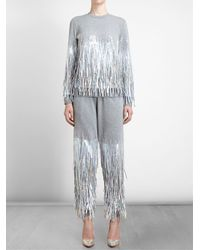 Ashish - Gray Fringed Sequin Sweatshirt - Lyst