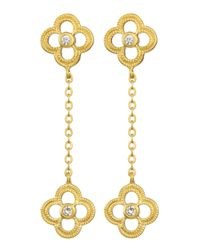 Freida Rothman | Metallic Double-Clover Drop Earrings | Lyst