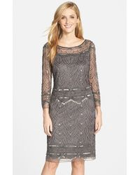 Pisarro Nights | Gray Beaded Mesh Cocktail Dress | Lyst