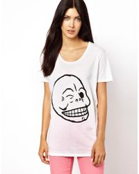Cheap Monday | White Flirt Skull Tshirt | Lyst