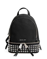 MICHAEL Michael Kors | Black 'small Rhea Zip' Studded Backpack | Lyst