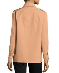 Michael Kors - Brown Chain-front Safari Shirt - Lyst
