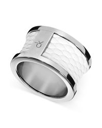 Calvin Klein | Metallic Ck Polished Stainless Steel White Leather Barrel Ring | Lyst