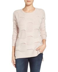 Halogen | Natural 'brickwall' Merino Wool & Cashmere Sweater | Lyst