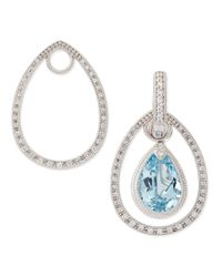 Jude Frances - Classic White Gold Pave Diamond Teardrop Earring Frames - Lyst