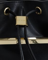 Ted Baker | Black Crosshatch Leather Mini Bucket Bag | Lyst