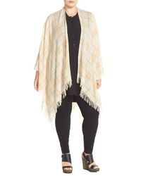 Eileen Fisher | Natural Plaid Wool & Cashmere Poncho Cardigan | Lyst