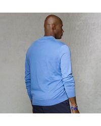 Polo Ralph Lauren - Blue Pima Cotton Placket Sweater for Men - Lyst