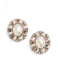 kate spade new york - Metallic Faux Pearl Studs - Cream Multi - Lyst