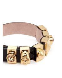 Alexander McQueen - Black Skull And Crystal Metal Loop Leather Bracelet - Lyst