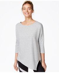 Betsey Johnson | Gray Asymmetrical Hem Three-quarter Sleeve Top | Lyst