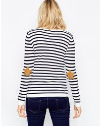 ASOS | Blue Boxy Stripe Jumper With Elbow Patch | Lyst