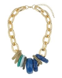 Mikey | Blue Multi Rings Metal Necklace | Lyst