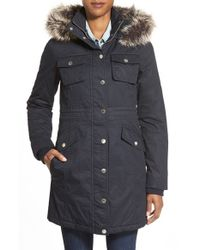 BCBGeneration | Blue Button-Front Twill Parka | Lyst