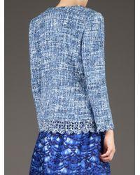 Oscar de la Renta | Blue Bouclé Tweed Jacket | Lyst