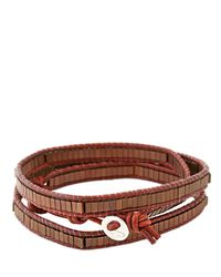 Colana - Brown Leather Wrap Bracelet W/ Copper Hematite - Lyst
