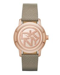 DKNY - Metallic 'tompkins' Logo Dial Leather Strap Watch - Lyst