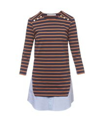 Veronica Beard - Orange And Navy Stripe Charter Combo Dress - Lyst