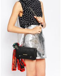 Love Moschino - Black Across Body Bag With Chain Strap And Detachable Scarf - Lyst