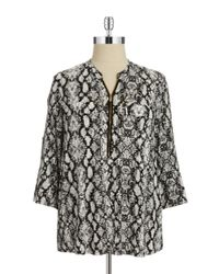Calvin Klein | Black Plus Patterned Zip Accented Blouse | Lyst