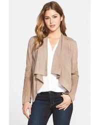 Lamarque - Brown Drape Front Suede Jacket - Lyst