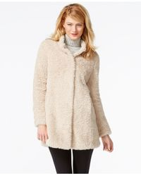 Kenneth Cole | Natural Plus Size Faux-fur Coat | Lyst